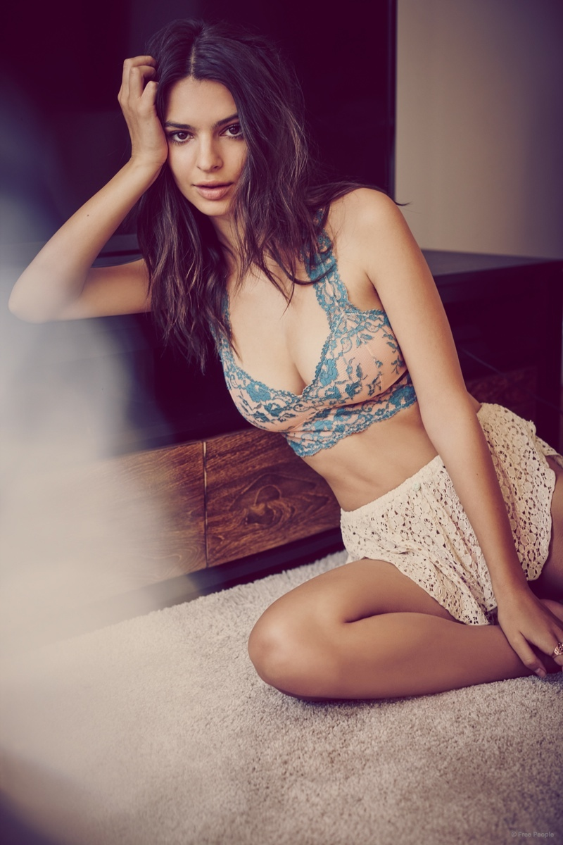 Emily Ratajkowski is sexy in lingerie for Free People's April 2015 Intimates Lookbook