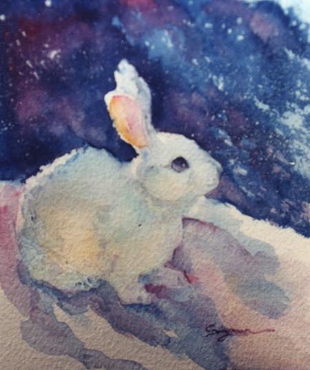 White rabbit painting - photo#2