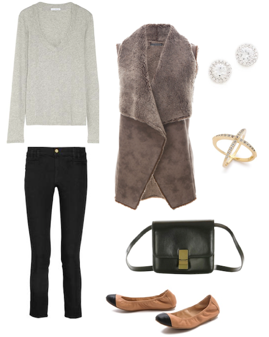 casual fall weekend look featuring velvet faux fur vest