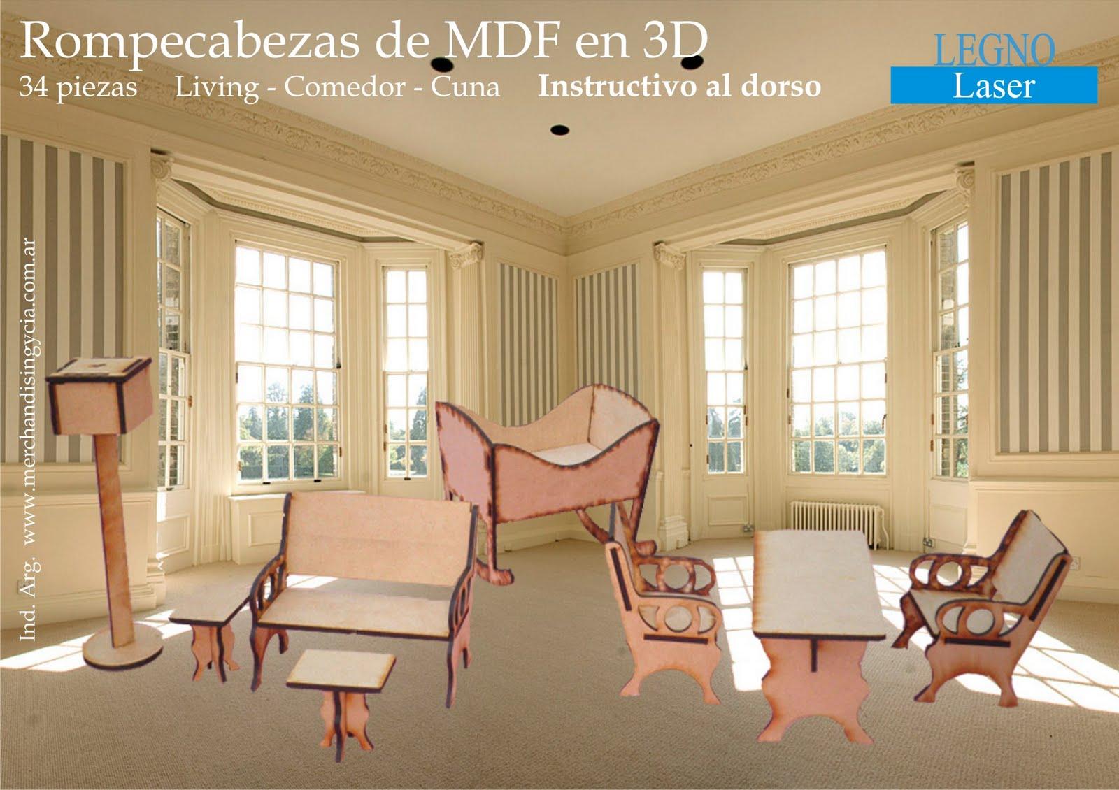 LEGNO Laser Rompecabezas 3D en MDF Modelo Set de Muebles I