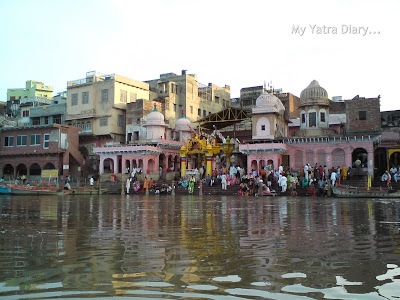 A panaromic view of Mathura Ghats as seen from the Yamuna River Boat ride