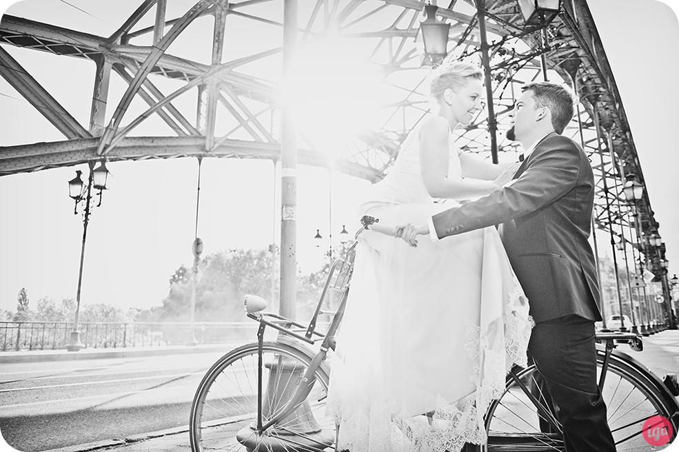 sesja ślubna z rowerem