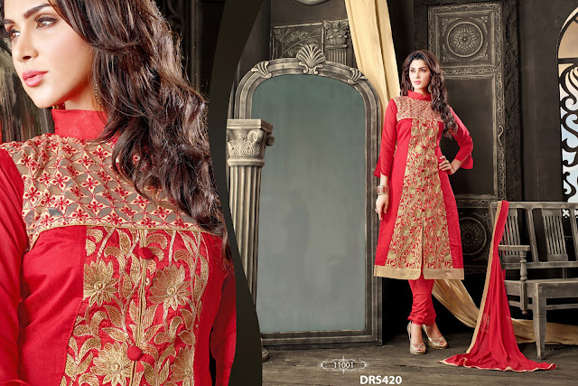 Latest Embroidery Work Churidar Dress Material