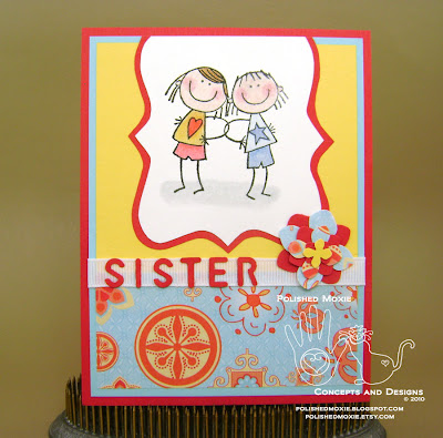Picture of handmade Red Best Sister Card