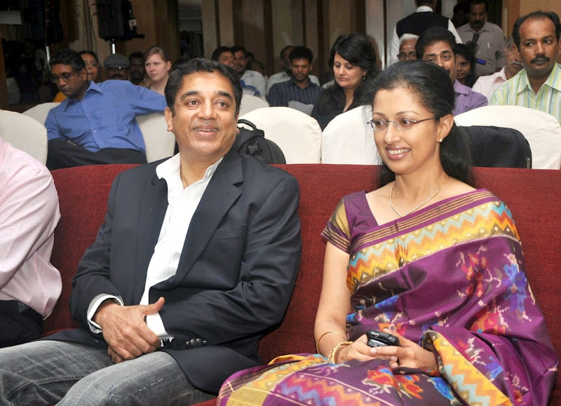 Kamal HaasanGouthami and Daughter At Film France Press Meet Stills hot images