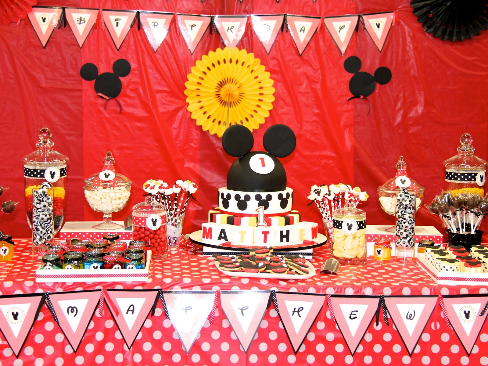 Kids Party Ideas Mickey Mouse Themed First Birthday Basil and