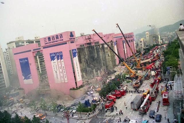 Rescate de supervivientes tras el derrumbe de las tiendas Sampoong en Seúl