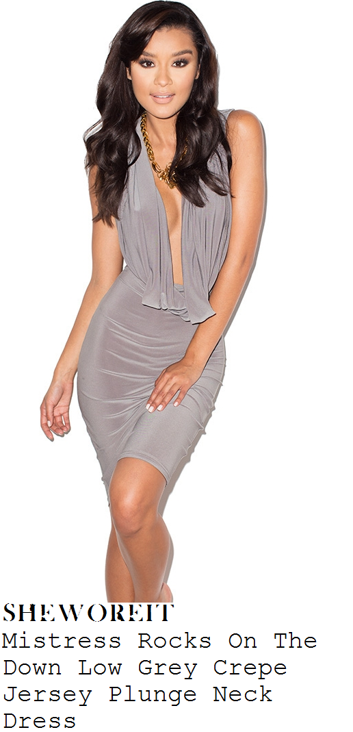 danielle-armstrong-grey-plunge-front-cowl-neck-bodycon-dress-vegas