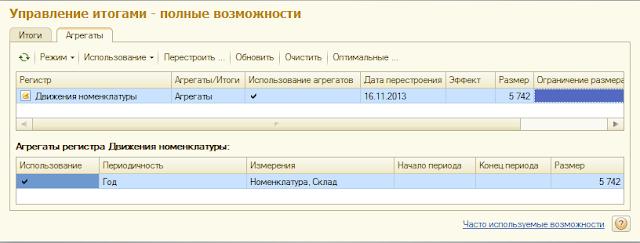"""Настроенный агрегат регистра """"Движения номенклатуры"""""""
