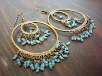 Circular Brass and Bead Chandelier Earrings by hotGlued