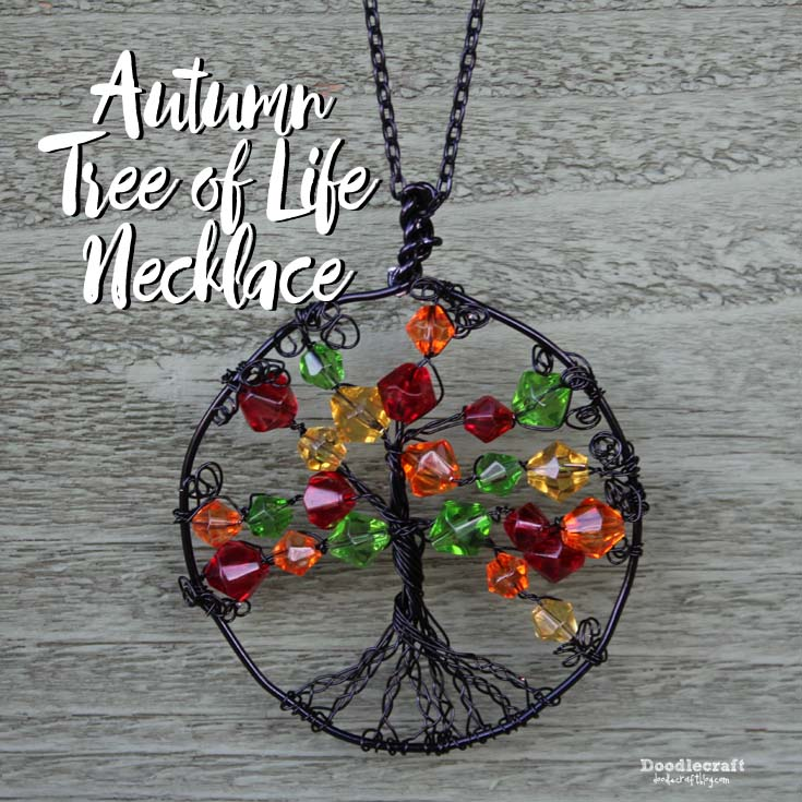 Doodlecraft wire wrapped autumn tree of life necklace wire wrapped autumn tree of life necklace mozeypictures Image collections