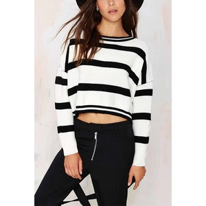 long sleeves knitted crop jumper from Yoins