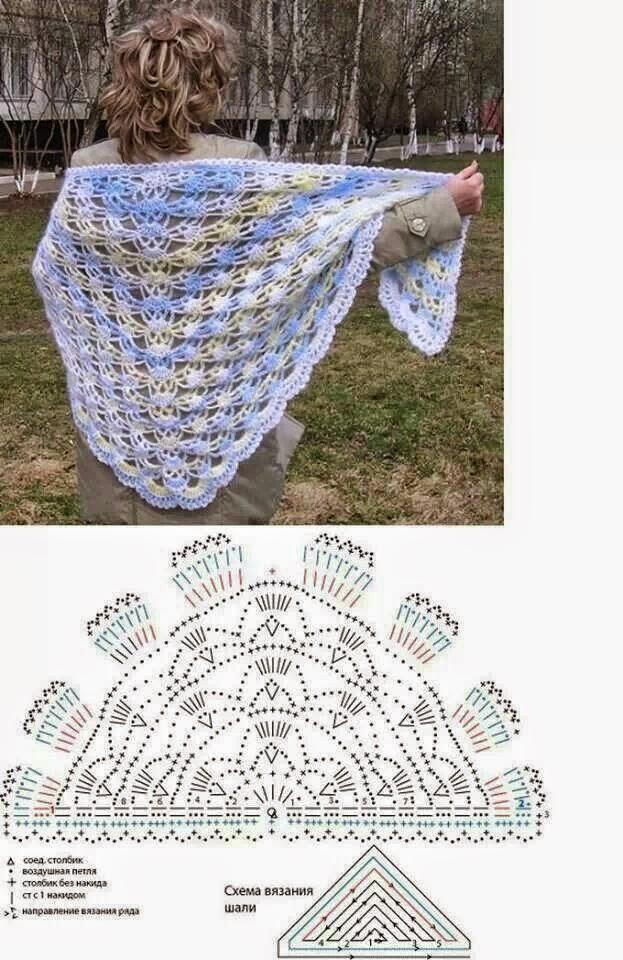 Hermosa Patrones De Crochet Chal Hilo Composición - Manta de Tejer ...