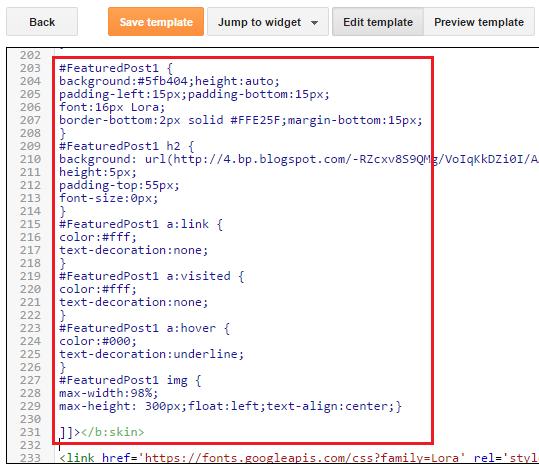 Cara Ubahsuai Featured Post Widget Pada Blog
