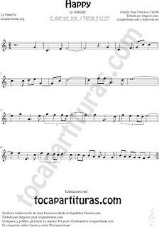Happy Partitura en la tonalidad fácil clave de sol Partitura para flauta dulce, violín, saxofón alto, tenor, soprano, barítono, trompeta, clarinete, fliscorno, oboe, corno inglés, trompa, flauta travesera o traversa