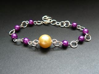 biżuteria z półfabrykatów - fioletowo-żółty komplet (bransoletka)