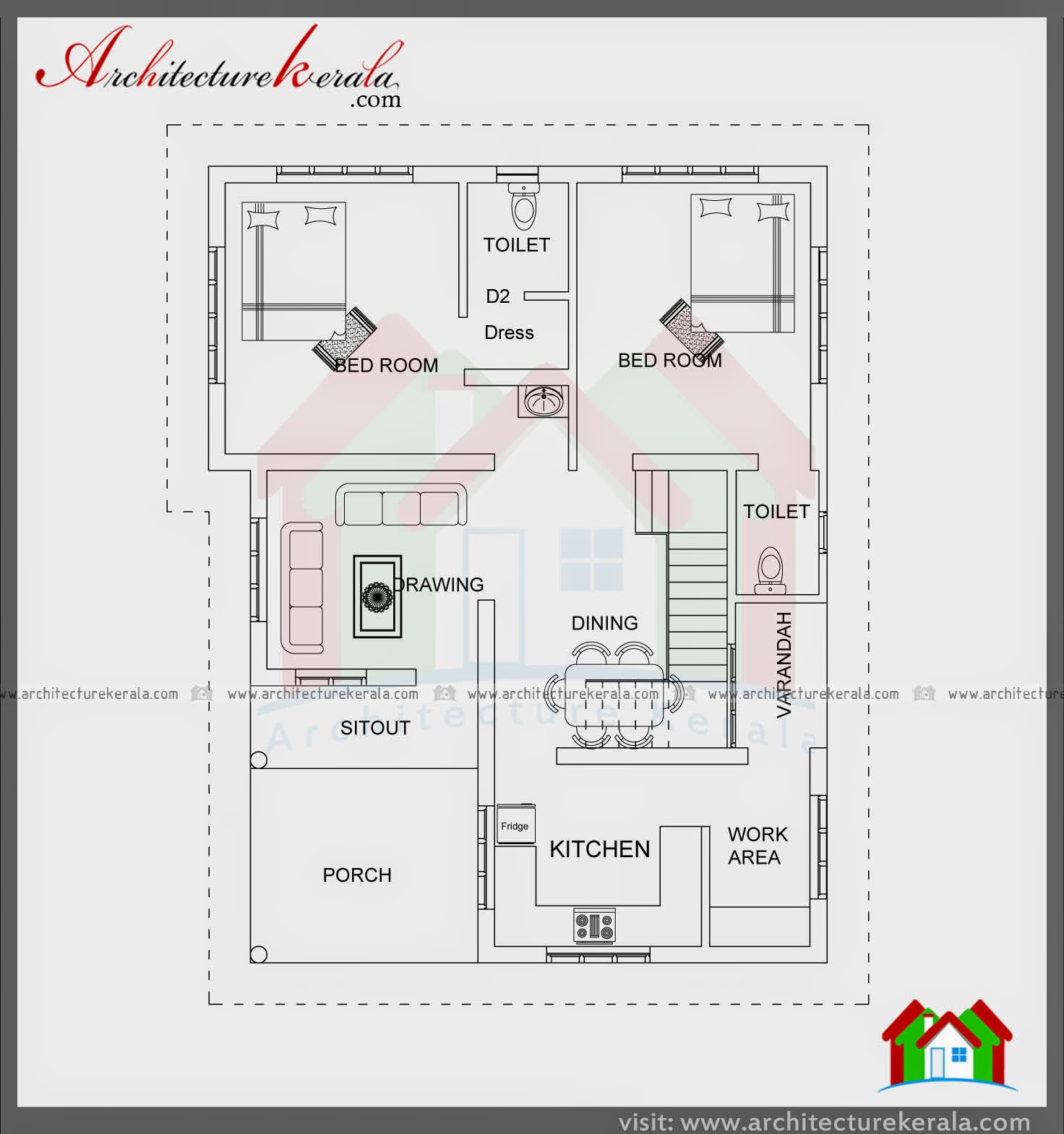 1200 square feet house two bedrooms stair room architecture kerala - Bed room house plan with stairs ...