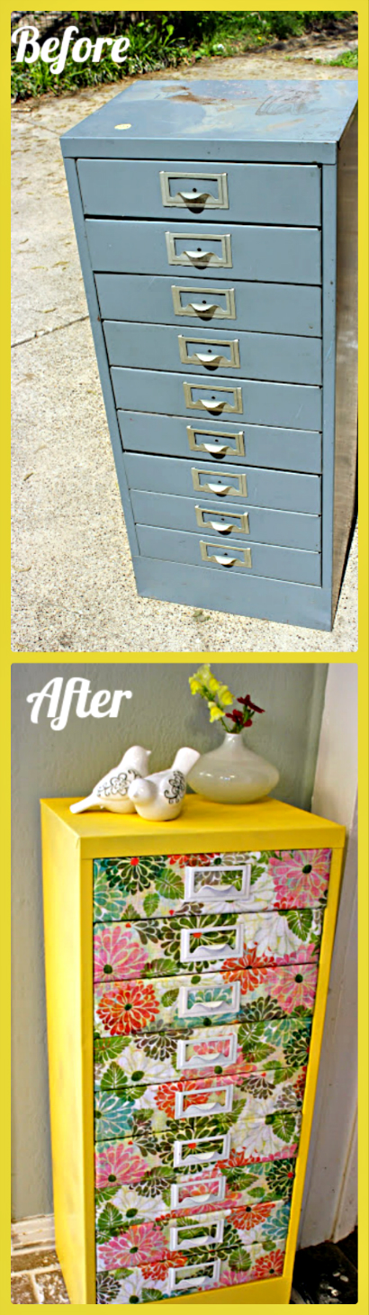 Moptu Allison Gould Refab Diaries Upcycle Filing: upcycled metal filing cabinet