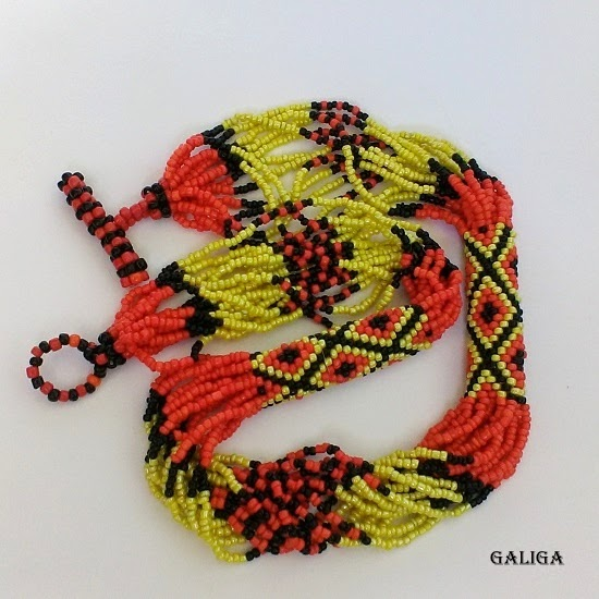 Beaded necklaces in ethnic style