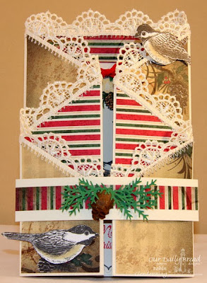 Our Daily Bread Designs, Chickadee Ornament; Poinsettia Wreath; ODBD Christmas Paper Collection 2013, Ornate Borders and Flowers; Ornate Borders and Flowers Dies