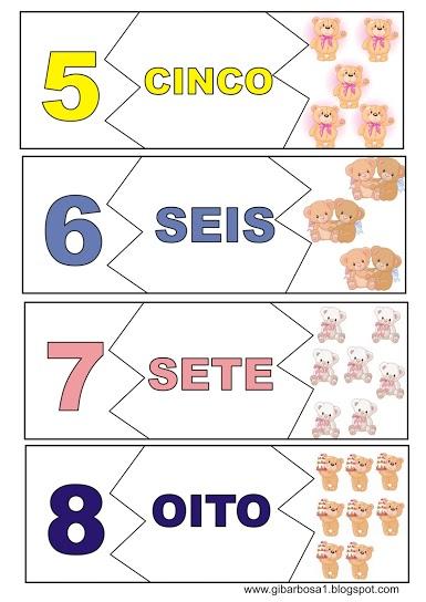 Flash Cards - Quebra cabeça numérico