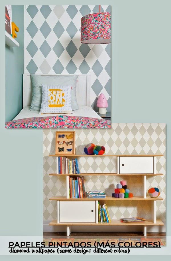 papel pintado rombos dormitorio infantil diamond wallpaper