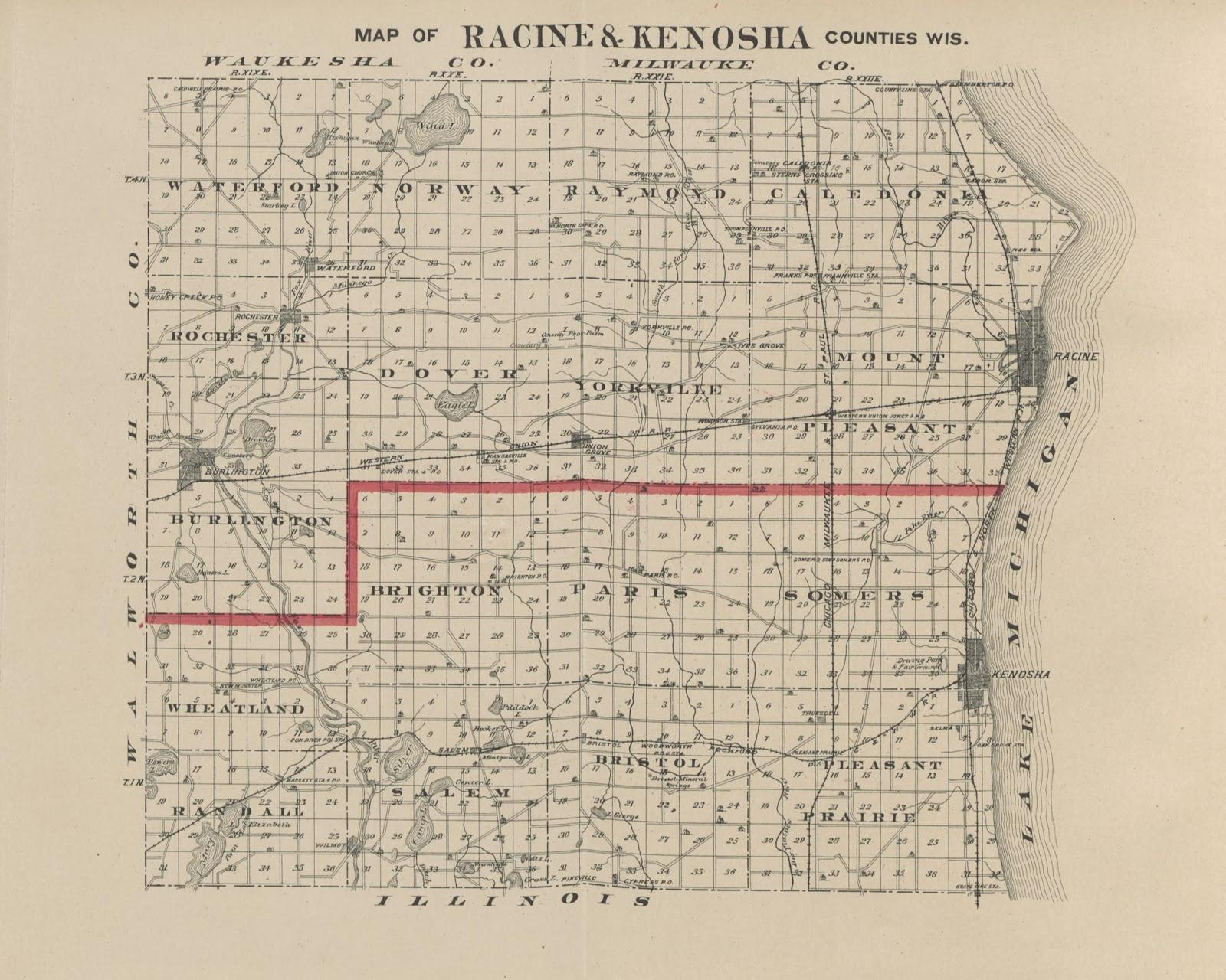 historische karte von racine county oben mit der stadt burlington im suedwesten die ketterhagen road verlaeuft in ost west richtung suedlich der