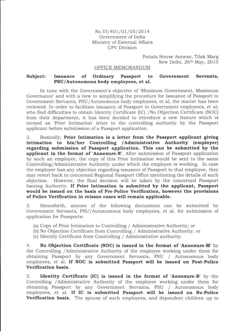 Tamilnadu Government Nursing Tutors Association Issue Of Passport Prior  Intimation Letter For Passportjpg Page1 Issue Of Passport To Govt  Employeeshtml Noc ...  No Objection Certificate For Passport