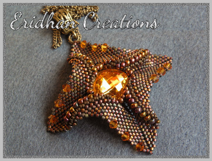 twisted peyote beaded pendant