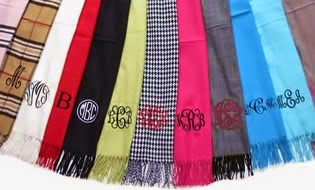 monogrammed scarf from pretty personal gifts