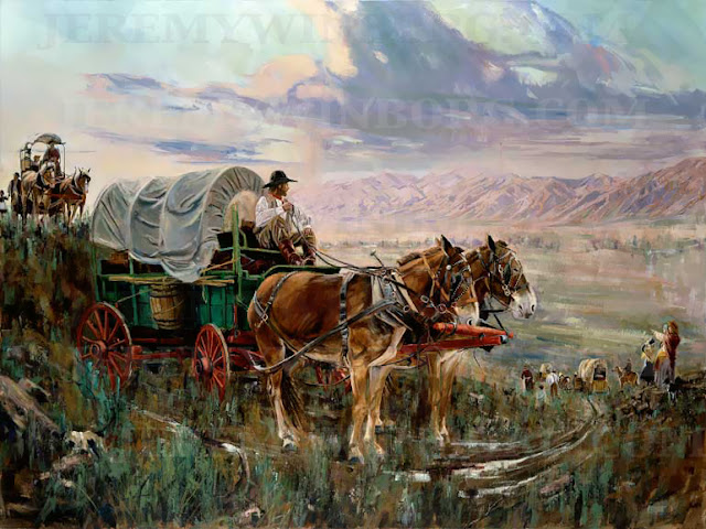 LDS pioneers travel by horse cart to their new home in Utah an original painting