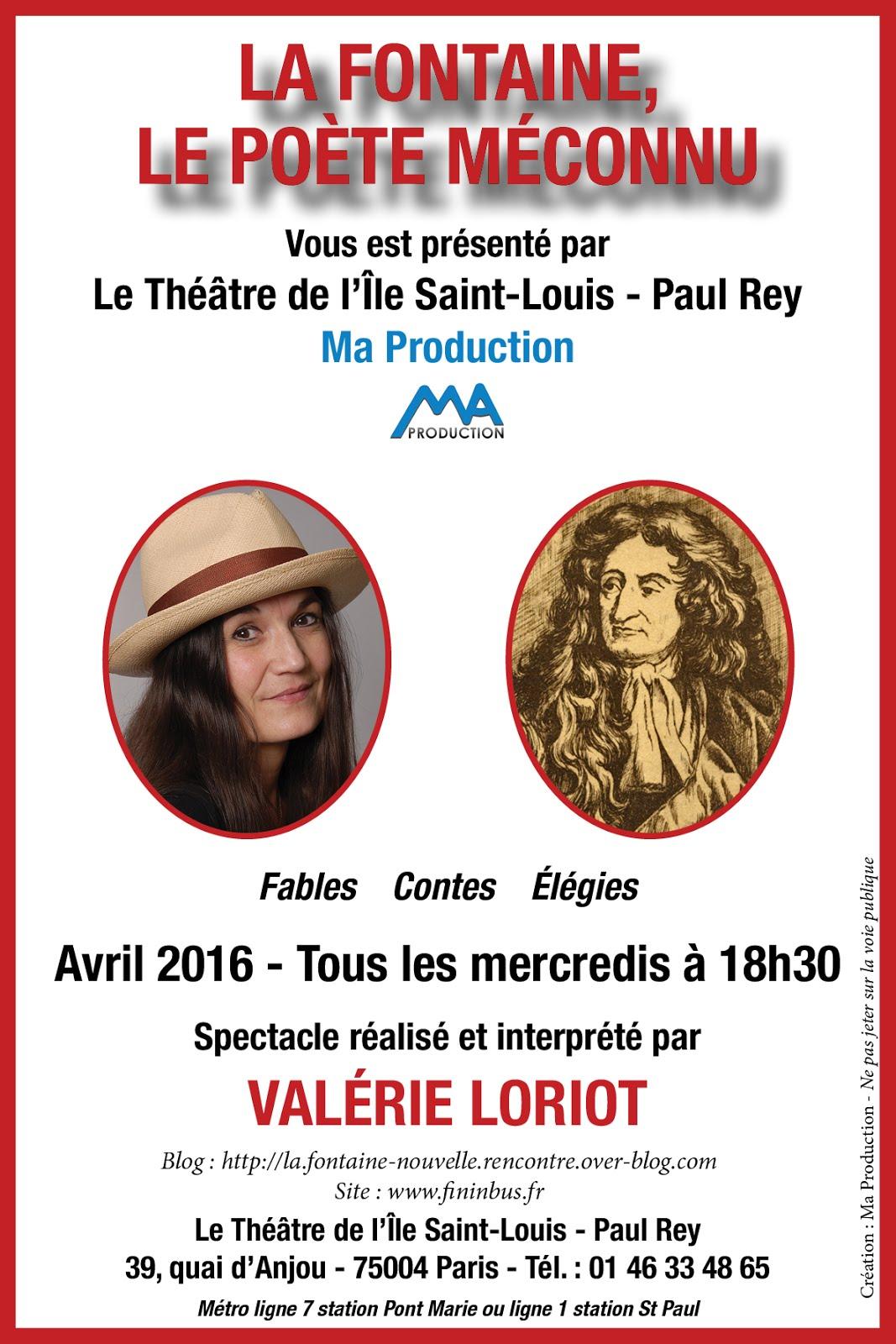 TOUS LES MERCREDIS D' AVRIL A PARIS: LA FONTAINE LE POETE MECONNU