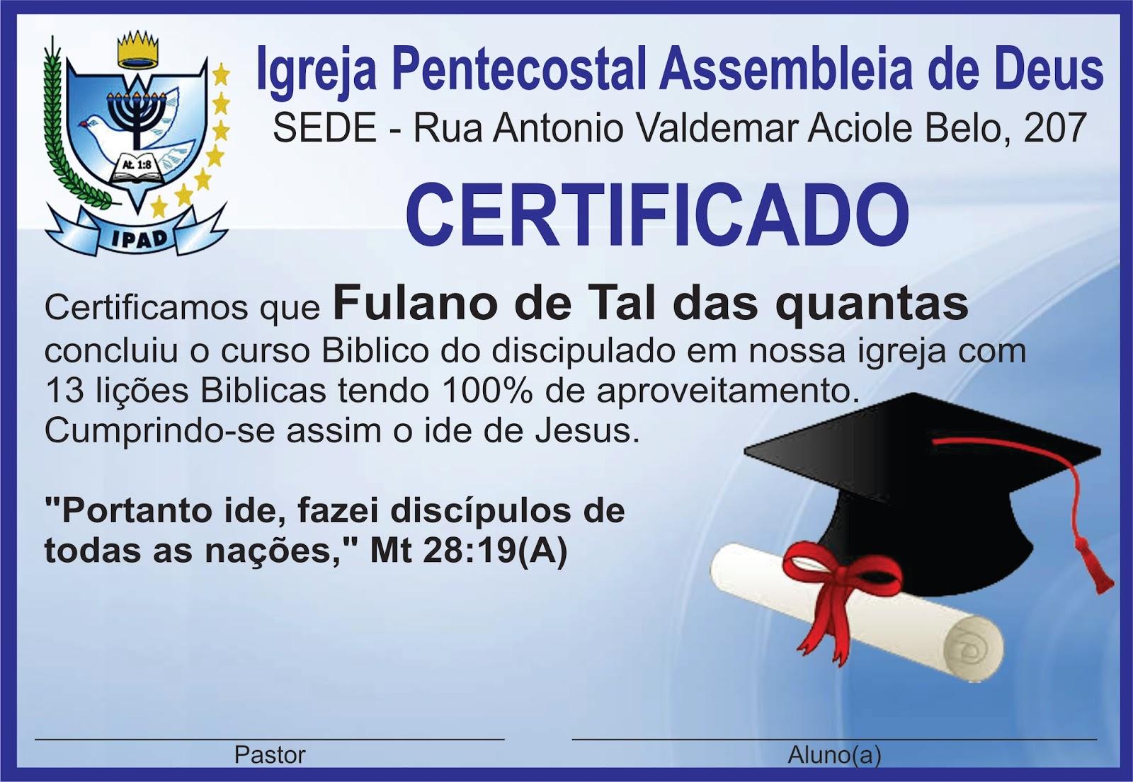 Suficiente MODELO DE CERTIFICADO DE DISCIPULADO EDITAVEL DISPONIVEL PARA  BW06