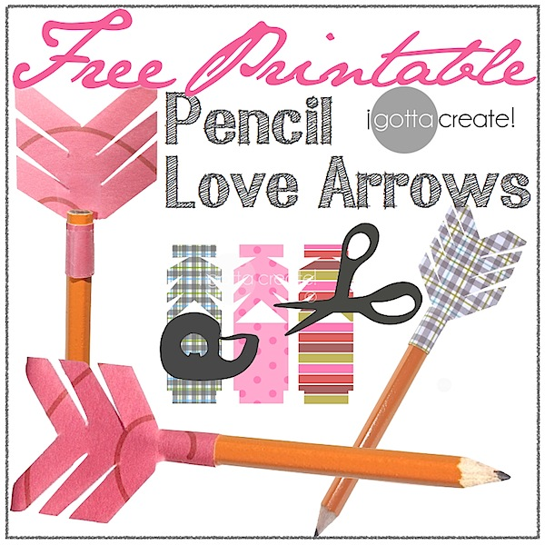 Free #printable of 10 darling #fletchings in 6 designs to make Pencil Love Arrows! | Compliments of I Gotta Create!