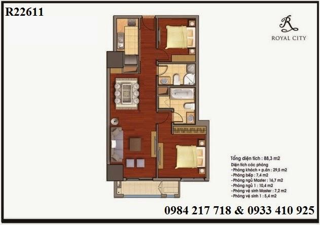 Mua bán căn hộ chung cư Royal City, căn hộ R22611 hướng Đông Nam diện tích 88.3 m2 bán giá rẻ 3.887 triệu
