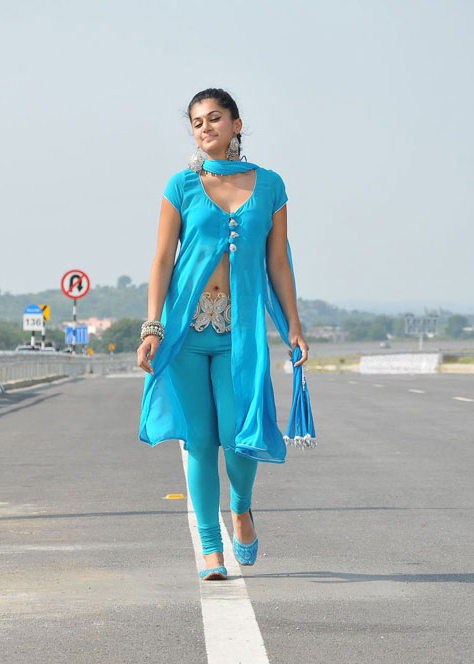 , Taapsee Pannu Mogudu Stills - Blue Suit On Airoplane Track