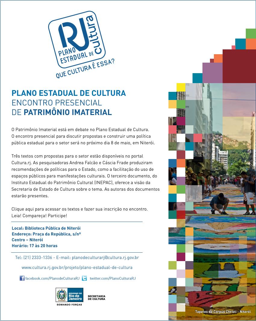 Plano Estadual de Cultura RJ: Encontro Presencial de Patrimônio Imaterial - 8 de maio