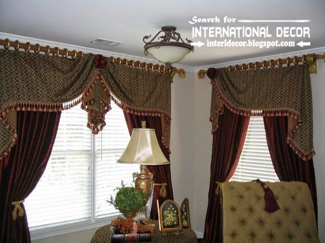 Stylish Country Curtains For Living Room In English Style, Burgundy Curtains  With Patterned Valance