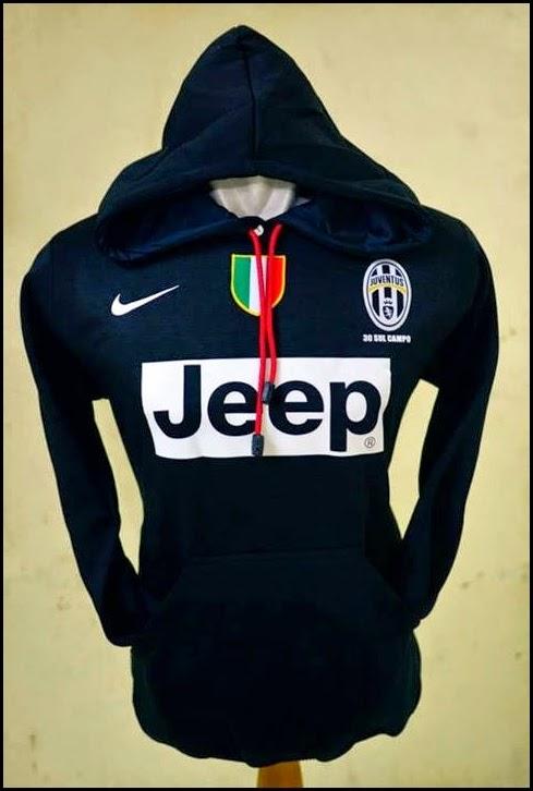 Jumper Hoodie Bola Polos (Satu Warna) - Juventus Hitam