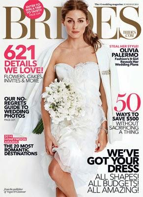 Olivia Palermo posa de noiva para Brides Magazine vestido Marchesa e jaqueta Marcelo Giacobbe
