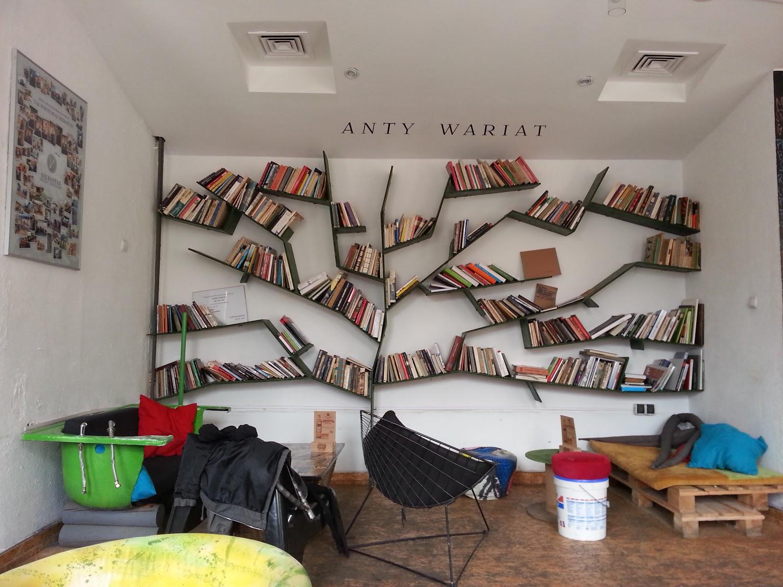 Niebostan, Lodz, Poland, book shelves,