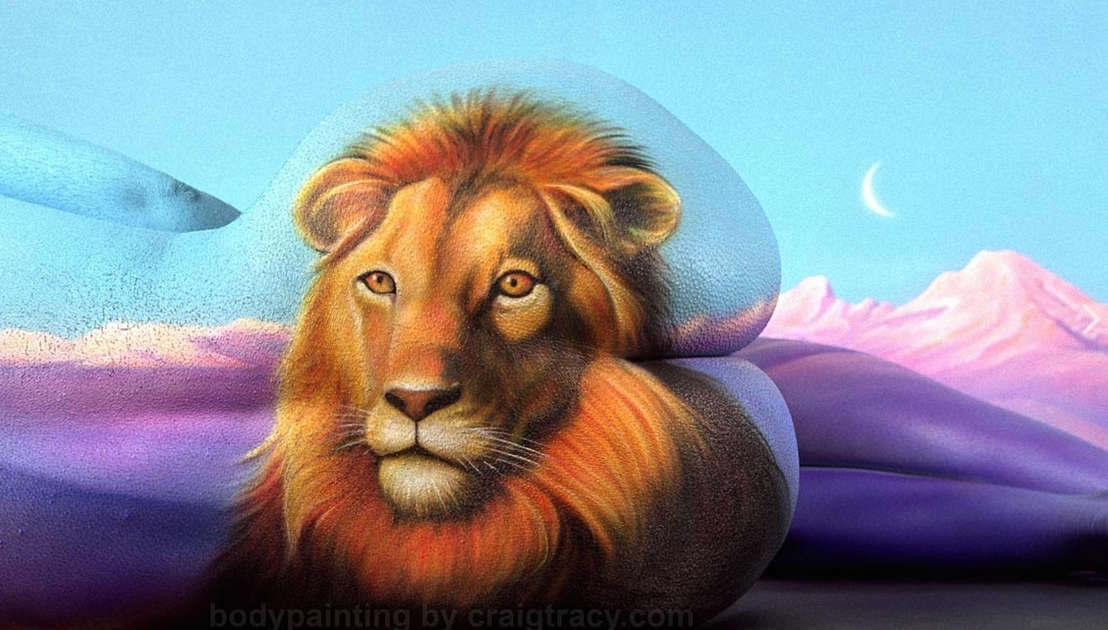 06-Lion-Craig Tracy-Body-Paintings-on-Skin-Canvases-www-designstack-co