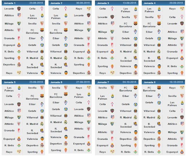تعرف على الجدول الكامل لبطولة الدورى الاسبانى الموسم القادم2015-2016 -La Liga