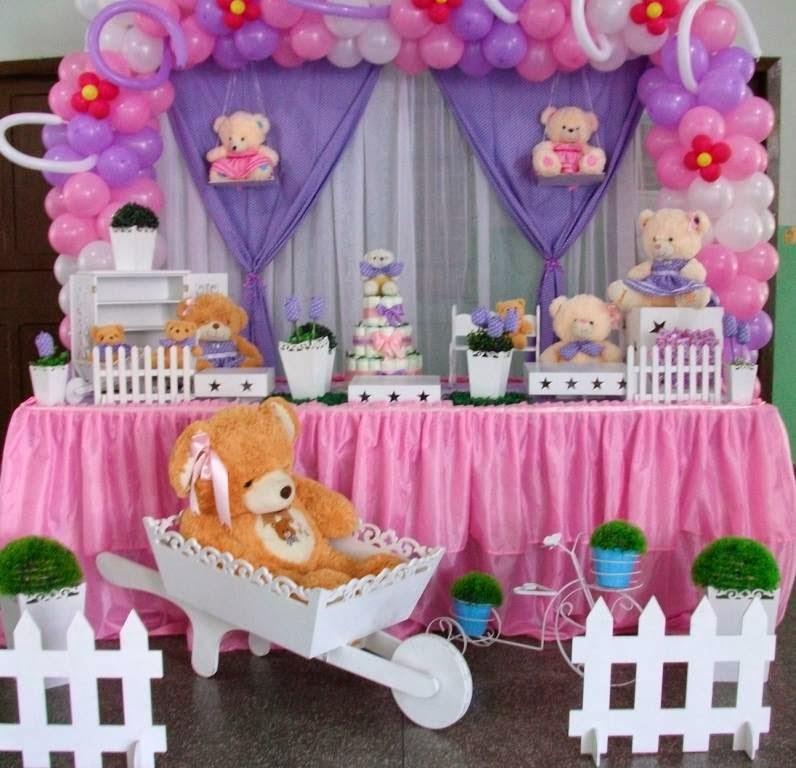 Chá de bebê ursos rosa e lilás