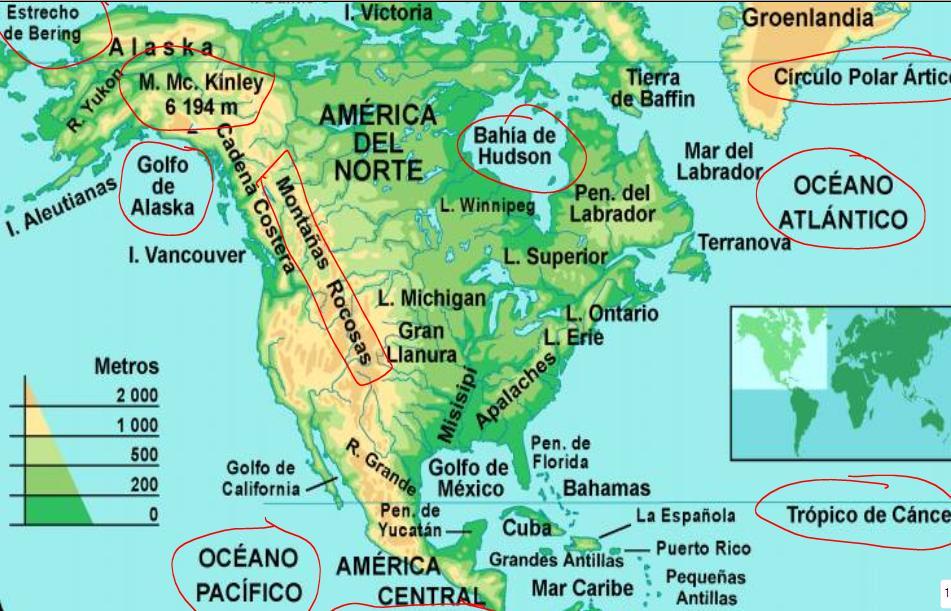 Amrica del Norte y Sur Mapa fsico  6 PRIMARIA DEL COLEGIO