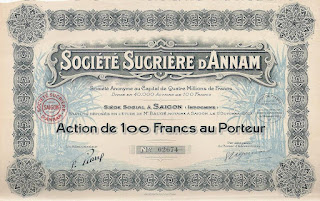 share of the Sugar Company of Annam (French Indochina)