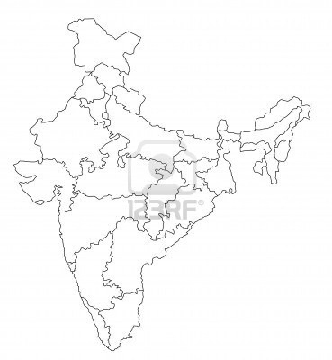 Free Coloring Pages: Map Of India Coloring Page