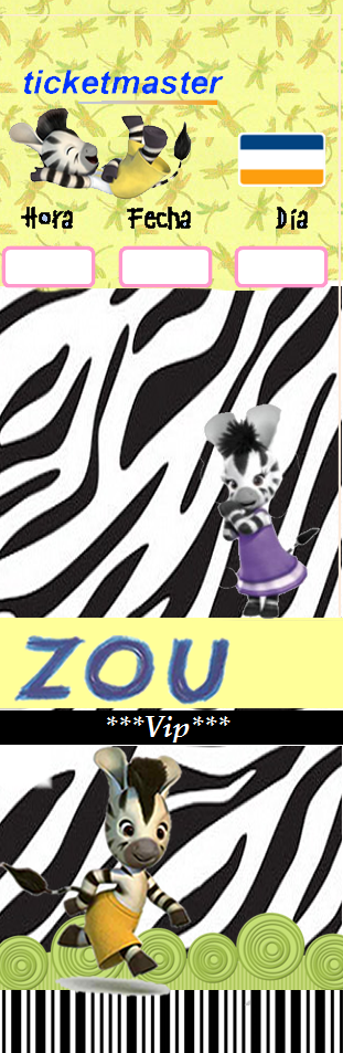 Invitación Ticket Máster Cebra Zou.