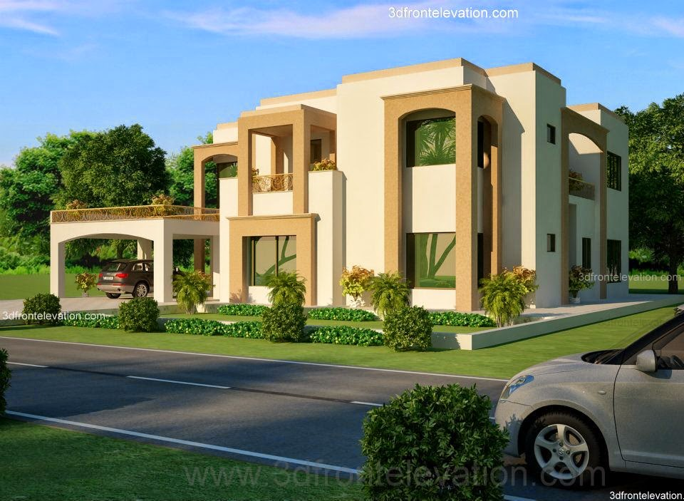 3d front 2 1 kanal lahore pakistani house for One kanal house plan