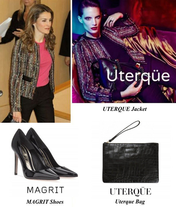Queen Letizia's Uterque Jacket, Uterque Bag And MAGRIT Shoes